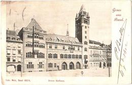 CPA Suisse Bâle - Gruss Aus Basel, Neues Rathaus / Nouvel Hôtel-de-Ville TBE Précurseur 1902 éd. Metz - Basel - BS Bâle-Ville