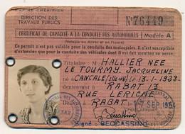 MAROC - EMPIRE CHERIFIEN - Direction Travaux Publics - Certificat Capacité Conduite Automobiles 1954 RABAT - Ohne Zuordnung