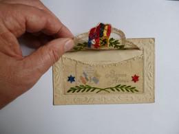 Carte Brodée  -  SOUVENIR DE GLORIEUSE MEMOIRE  -  1914  -  Bonne Année   -  Rabat Tissus  -  Militaire - Guerra 1914-18