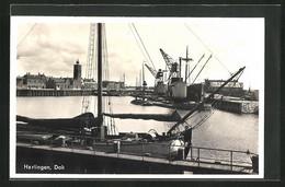 AK Harlingen, Hafenkräne Am Dok - Harlingen