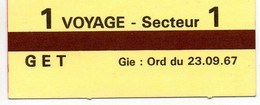 "Ticket De Métro  "" 1 Voyage  Secteur 1 "" - Europe"