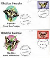 GABON 0608/09 Fdc Papillons - Schmetterlinge