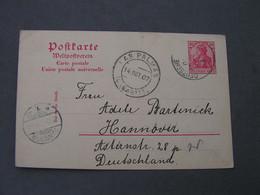Germania Auslandskarte Seepost über Las Palmas Nach Hannover ,  Karte Aus  1907 - Briefe U. Dokumente