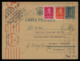 TREASURE HUNT [00914] Romania 1942 King Michael 5 L Blue Post Card Sent To Germany Up-rated With 2 L+5 L, Multiple Cens. - Brieven En Documenten