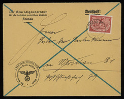 TREASURE HUNT [00934] General Gouvernment 1941 Off. Cover From Cracow Governor's Office To Warsaw W/ 24 Gr Single Frank - Gouvernement Général