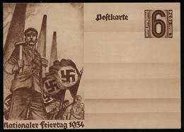 TREASURE HUNT [00942] Germany 1934 National Day 6 Pf Sepia Propaganda Post Card, Mint, Swastikas, Workers - Lettres & Documents