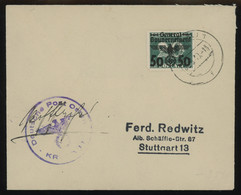 TREASURE HUNT [00989] General Gouvernment 1940 Cover From Cracow To Stuttgart W/ 50 Pf On Polish 20gr Postage Due Green - Generalregierung