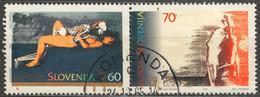 Nude Erotic Painting - 1995 EUROPA CEPT Slovenia - Peace And Freedom / Woman Scull Skeleton - Komenda - Aktmalerei
