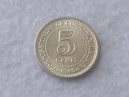 RARE ! 1945 MALAYA STRAIT SETTLEMENT KING GEORGE VI 5 CENTS SILVER COIN UNC (SC-59) - Singapore