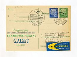 1957 Bund Luftpost Privatganzsache 10 Pf Heuss Mit 15 Pfg Heuss Zusatzfrankatur Erstflug Frankfurt Wien - Privatpostkarten - Gebraucht