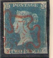 GREAT BRITAIN 1840-1841 RARE QUEEN VICTORIA IMPERF PENNY BLUE With RED MALTESE CROSS USED Ex Rare - Used Stamps