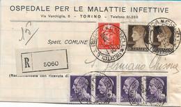 LUOGOTENENZA - RACCOMANDATA L. 4,80 DA TORINO  PER GERMANO CHISONE AFFRANCATURA MISTA IMPERIALE CON E SENZA FASCI 1945 - Storia Postale