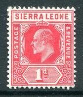 Sierra Leone 1907-12 KEVII - Wmk. Mult. Crown CA - 1d Carmine HM (SG 100) - Patchy Gum - Sierra Leone (...-1960)
