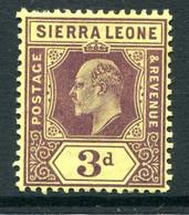 Sierra Leone 1907-12 KEVII - Wmk. Mult. Crown CA - 3d Purple On Yellow HM (SG 104) - Sierra Leone (...-1960)