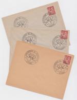 Lot De 3 Enveloppes Journée Du Timbre 1944 Lyon, Montluçon, Lens Port 100g - Commemorative Postmarks
