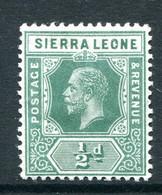 Sierra Leone 1912-21 KGV - Wmk. Mult. Crown CA - ½d Blue-green HHM (SG 112) - Sierra Leone (...-1960)