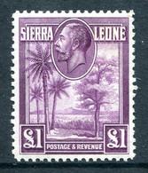 Sierra Leone 1932 KGV - Rice Field, Palms & Cola Tree - £1 Purple HM (SG 167) - Sierra Leone (...-1960)