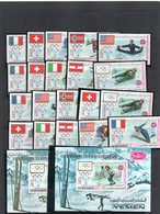 OLYMPICS - YEMEN KINGDOM - 1968- GRENOBLE FLAGS SET OF10 PERF & IMPERF + S/SHEETS (BOTH) MINT NEVER HINGED - Hiver 1968: Grenoble