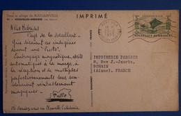 M18 NEW HEBRIDES BELLE CARTE. 1955 PORT VILA POUR BOHAIN FRANCE + AFFRANCHISSEMENT PLAISANT - Briefe U. Dokumente