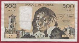 """France 500 Francs """"Pascal"""" Du 03/11/1977.J--ALPH.A.82 -- .dans L 'état (P.150) - 500 F 1968-1993 ''Pascal''"""
