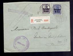 OC16 + 18 / Lsc Recommandée Antwerpen 3. 9. 18 => Braives Censures De Banque  ( Voir Verso ) - [OC1/25] Gen. Gouv.