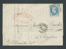LaC AFFRANCHIE PAR YVERT N°29,  Ambulant Tad La Rochelle à Paris , 2/01/1869  , Voir Scans - Lp31506 - 1849-1876: Klassik