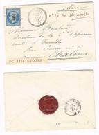 PC 1216 (Etoges, Marne (49)) Sur Lettre (Cote Dallay: 55€) - 1849-1876: Classic Period