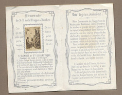 IMAGE PIEUSE 1886 Avec 2 Photos.. édit Bonamy.. SAINT BENOIT Et SAINTE SCOLASTIQUE.. Souvenir De N-D La TRAPPE De MAUBEC - Images Religieuses