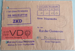 Lettre Avec Vignette VERTRAULICHE DIENSTSACHE, ZKD, Secret, Neuruppin (1965) - Briefe U. Dokumente