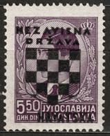 1941 Croatia NDH - Yugoslavia Overprint Coat Of Arms - Used / King Peter - Mi 17 / 5,5 Din MNH - Croatie