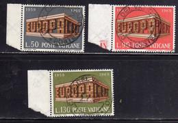 CITTÀ DEL VATICANO VATICAN VATIKAN 1969 EUROPA UNITA CEPT SERIE COMPLETA COMPLETE SET USATA USED OBLITERE' - Usati