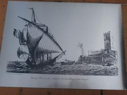 Baugean, Gravure,1820, Barque Provençale, Sur Plaque Acier, Fait Par Ugine Guegnon ,en1987, Poids 350g, Dim.33x24. - Engravings