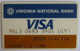 USA - Credit Card - VISA - Virginia National Bank  - Exp 10/83 - Used - Credit Cards (Exp. Date Min. 10 Years)