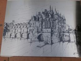 Château Chenonceaux, Bonneli?, Gravure? Sur Plaque Acier, Fait Par Ugine Guegnon ,en1987, Poids 350g, Dim.33x24. - Engravings
