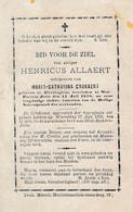 Henricus ALLAERT -  °Alveringem En Overleden In Jette 1878 - Esquela