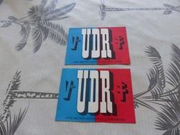 CA-18  , 2 Cartes D'adhésions , UDR , Union Des Démocrates, 1968 - Organizaciones