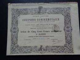 FRANCE - PARIS 1881 - SA DES COUPONS COMMERCIAUX - ACTION DE 500 FRS - DECO : RUCHE AVEC ABEILLE - Unclassified