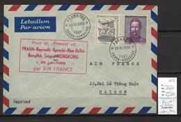TCHECOSLOVAQUIE - ENVELOPPE AIR FRANCE 1° VOL De PRAGUE - SAIGON - HONGKONG - 1956 - Airmail