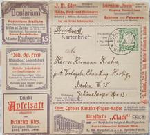 Entier Postal De Bavière (1908) Avec Publicité Oeil Photo Montre Rose Cigogne Aigle Lion Chevreuil - Picotenazas & Aves Zancudas