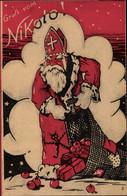 CPA Glückwunsch Weihnachten, Gruß Vom Nikolo, Nikolaus Mit Geschenkesack - Autres