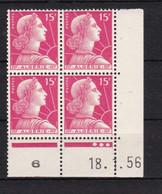 France (ex-colonies & Protectorats) Algérie    Marianne De Muller  15 F    Coin Daté 1956 - Ongebruikt