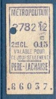 Ticket Métropolitain 2ème Classe. Station Père Lachaise. - Europa