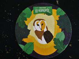 SOUS BOCK BIERE MICRO BRASSERIE LA KANOPEE EN BOURGOGNE - 21410 SAINTE MARIE SUR OUCHE COTE D'OR - CHOUETTE HIBOU OWL - Beer Mats
