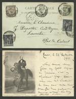 Affr. Tricolore Sage / Carte TOURS 24.01.1901 >>> LAVENTIE - PAS DE CALAIS - 1877-1920: Semi Modern Period