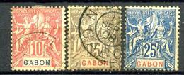 GABON - 20, 21 Et 23 - 3 Valeurs Groupe - Oblitérés - Gebruikt