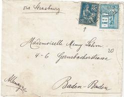 """CTN71- MOUCHON 25c """"DROITS DE L'HOMME"""" SUR LETTRE AVEC 2 VIGNETTES """"DROITS DE LA FEMME"""" NOVEMBRE 1901 - 1900-02 Mouchon"""
