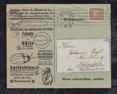 Deutsches Reich 1925 Werbung Drucksache BÄLLE FUSSBALL Soccer Berlin X Hohenfels - Storia Postale