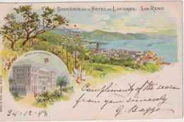 ITALY - Souvenir De L'Hotel LONDES - SAN REMO - Vignette 1898 - Undivded Rear - San Remo