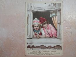 TARARE Carton Publicitaire Epicerie Fine ROSIER Fils 2 Fillettes à La Fenêtre RHONE 69 - Tarare