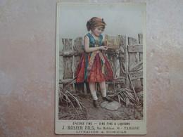 TARARE Carton Publicitaire Epicerie Fine ROSIER Fils Fillette Avec Cage Et Oiseau RHONE 69 - Tarare